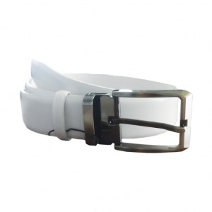 Leather Belt Mens White